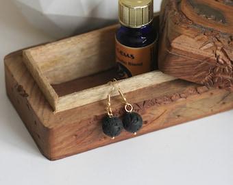 Minimalist Lava Bead Earrings   Aromatherapy