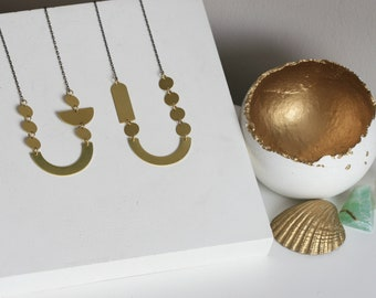 "Geometric Brass ""Moon"" Necklaces"