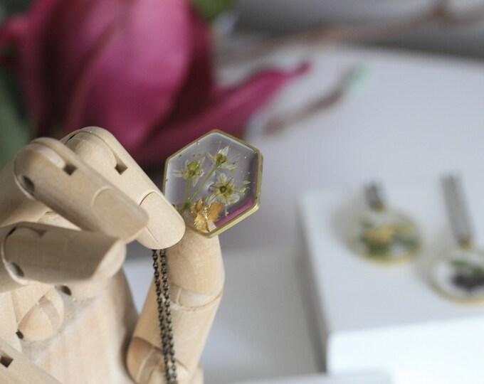 Wicklow Wildplant & Clear Resin Necklace | Botanical Jewellery