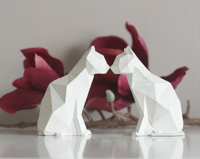 Concrete Cat Figurine | Faceted Animal Sculpture