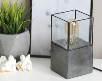 Concrete Cube and Soldered Glass Table Lamp | Concrete Light