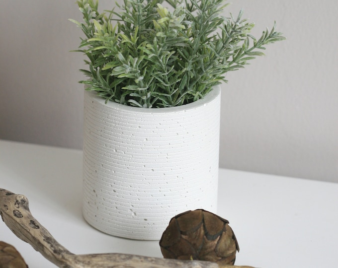 Textured White Concrete Container | Concrete Planter
