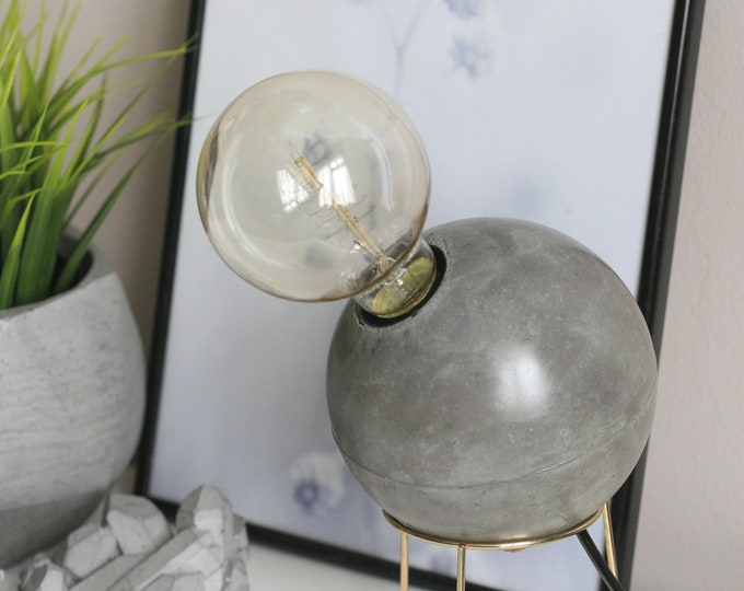Solid Concrete Sphere and Metal Stand Lamp with Edison Bulb   Concrete Light  