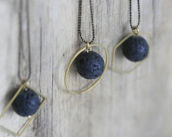 Minimalist Black Lava Bead and Geometric Brass Aromatherapy Necklace | Natural Lava Beads | Essential Oil Diffuser Necklace |  Black & Gold