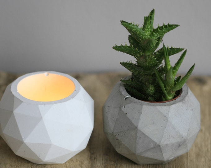 Faceted Concrete Decorative Container | Planter | Candleholder