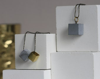 Minimalist Concrete and Brass Necklace | Architectural |  Geometric Jewellery