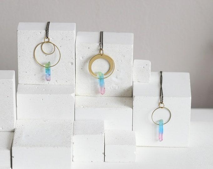 Rainbow Quartz Crystal Necklace | Brass and Crystal