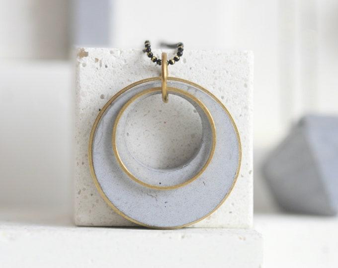 Minimalist Concrete and Brass Necklace | Concrete Beads | Architectural |  Geometric Jewellery