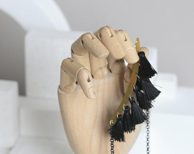 Black Tassel and Brass Statement Necklace