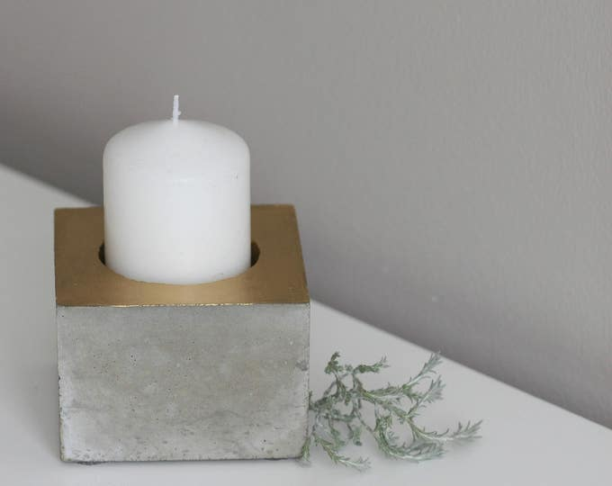 Hollow Cube Concrete Candle Holder | Concrete Planter