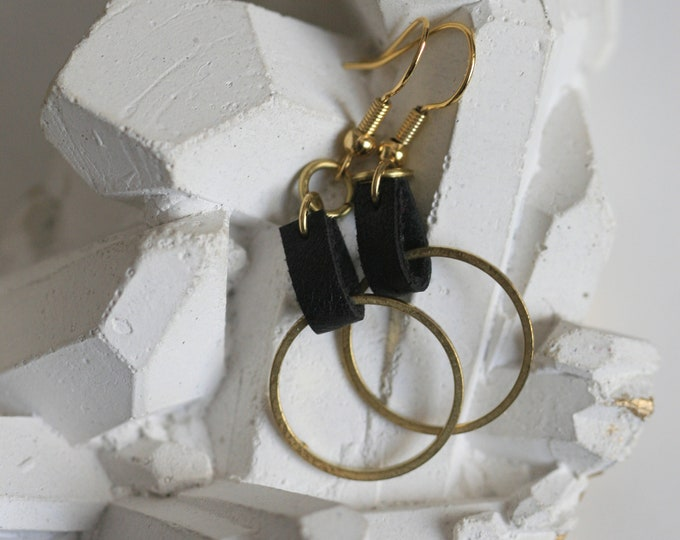 Various Geometric Brass and Black Faux Leather Earrings