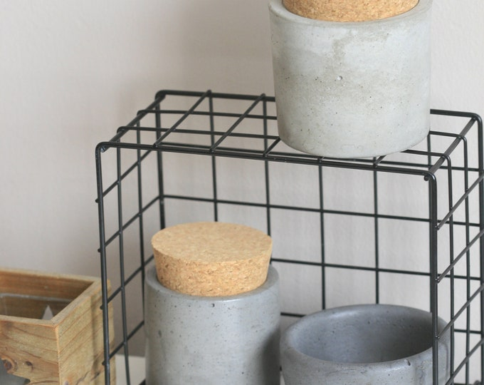 Concrete Containers with Natural Cork Lid | Storage Container