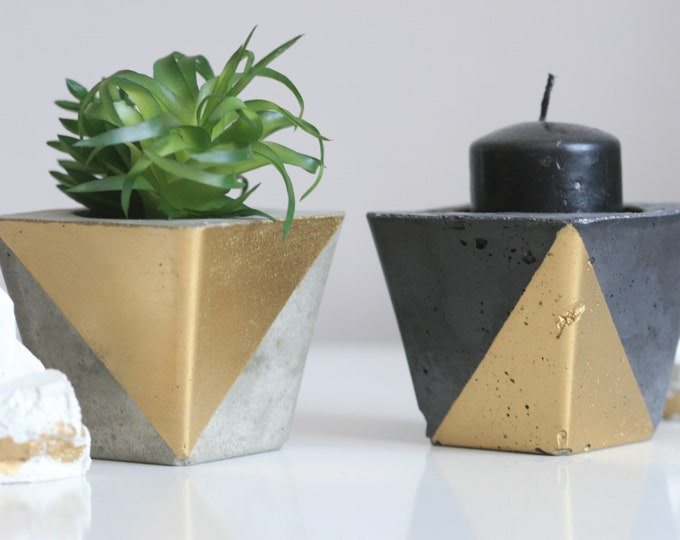 SET of 2 Concrete Candle Holders | Concrete Planter | Grey & Gold