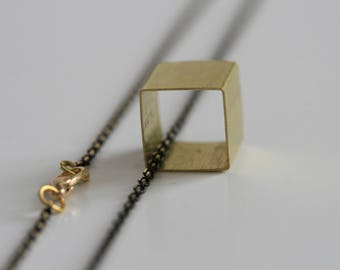 Geometric Cube Necklace   Minimalist   Brass
