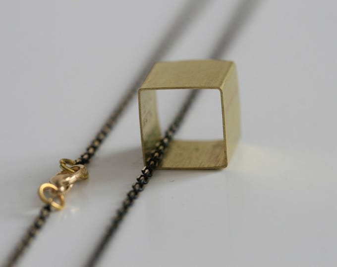 Geometric Cube Necklace | Minimalist | Brass