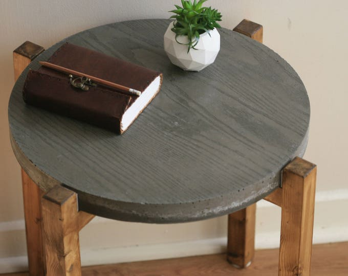 Industrial Concrete and Reclaimed Wood Side Table