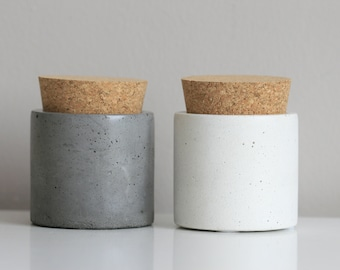 Concrete Container with Natural Cork Lid | Storage Container