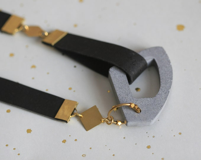 BRUTAL ACCESSORIES | Architectural Concrete and Brass Statement Necklace