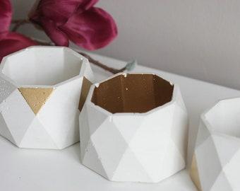 Faceted Concrete Decorative Bowl | Planter | Candleholder