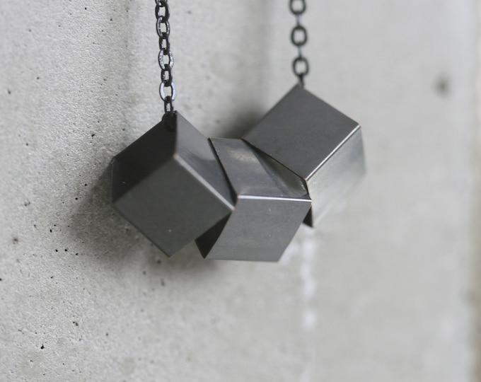 Black Cube Necklace   Minimalist   Geometric   Gift  