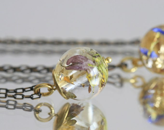 Wicklow Wildplant & Clear Resin Necklace | Brass and Resin | Irish Plant Necklace | Botanical Jewellery  | Jewelry