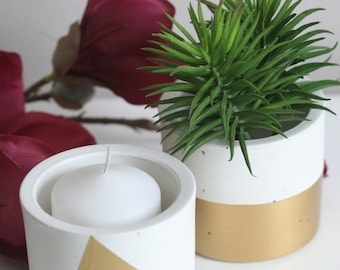 White Concrete Containers with Gold Detail