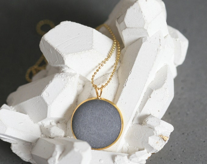 Minimalist Concrete and Brass Necklace   Architectural