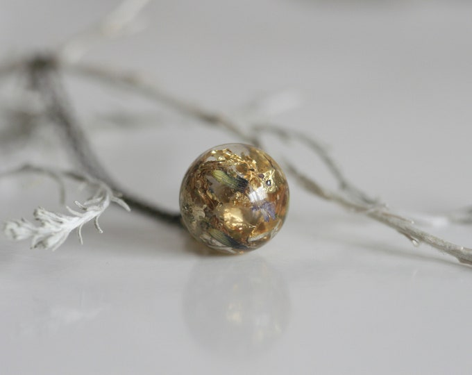 Wicklow Wildplant & Clear Resin Necklace   Brass and Resin   Irish Plant Necklace