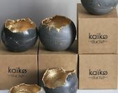 Concrete Sphere Candleholder   Concrete Planter   Grey & Gold   Urban   Industrial   Rustic