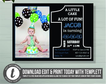 First Birthday Invitation For Boy Chalkboard Word With Picture One 1st Printed Invites