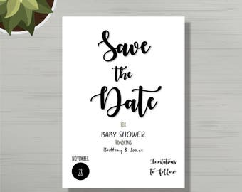 Save The Date Baby Boy Shower Card Template Save The Date Etsy