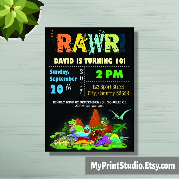 Personalized Dinosaur Birthday Party Invitations For Boys Or