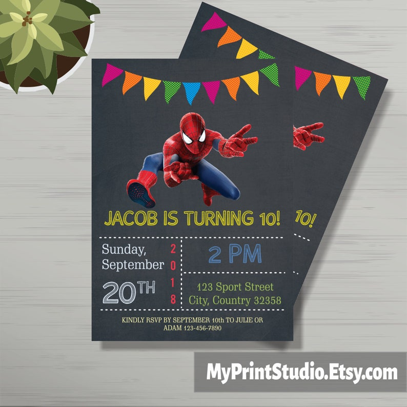 Personalized Spiderman Birthday Party Invitations