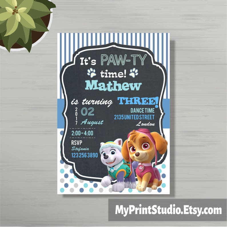 Personalized Paw Patrol Birthday Party Invitations For Boys