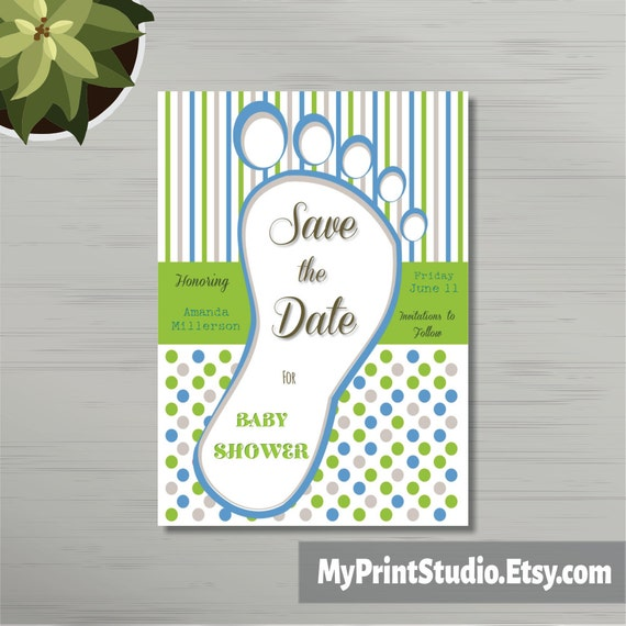 Save The Date Baby Boy Shower Card Template Save The Date Card Save The Date Card Template Printed Or Diy Instant Download
