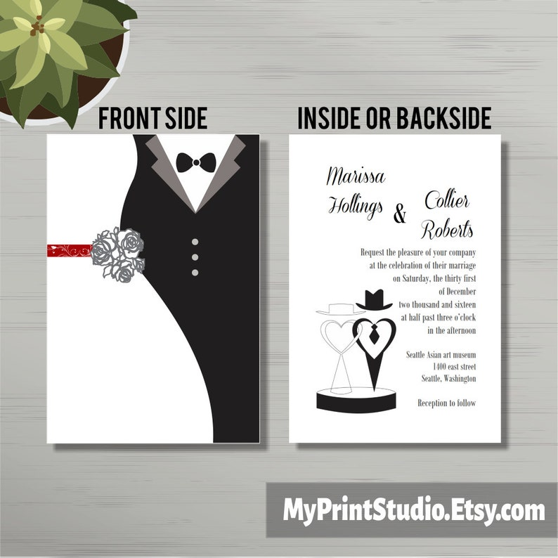 Foldable Wedding Invitation Template With Bride And Groom Characters