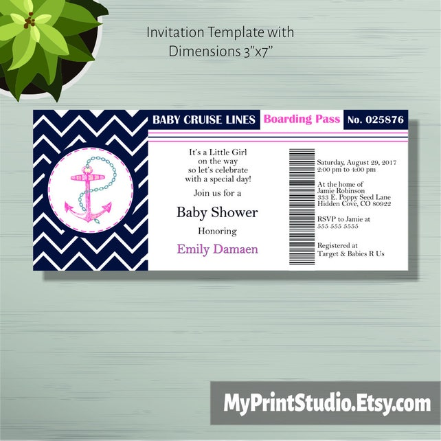 Baby shower invitation print your own diy boarding pass etsy image 0 filmwisefo