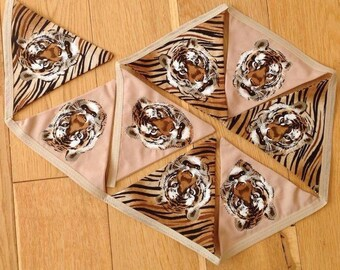 Double sided fabric Tiger Bunting