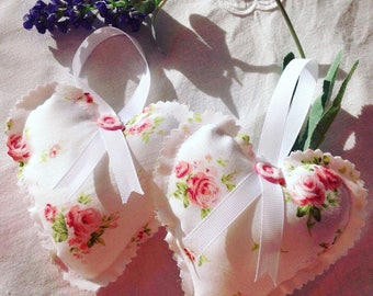 Gifts for her Beautiful handcrafted lavender filled shabby chic fabric hanging floral hearts
