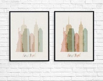 City skyline print, new york skyline, cityscape Art Print, new york skyline art, new york skyline print, new york poster, city poster