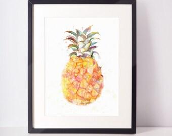 Pineapple Print, Pineapple Wall Art, Printable Pineapple, Best Selling Items, Watercolor Pineapple, Tropical Print, Pineapple, Pineapple Art
