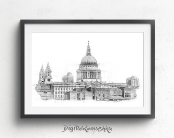 St pauls cathedral, london illustration, london poster, architectural drawing, art postcards, london art poster, london cathedral, wall art.