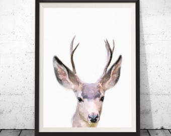 Nursery Decor, Printable Gift, Deer Print, Home Decor, Woodland Nursery, Animal Print, Deer Poster, Deer Head, Woodland Animals, Deer Antler