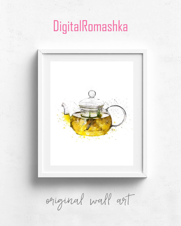 Tee Wasserkocher Druck Plakat Teekanne Küche Aquarell Kunst   Etsy