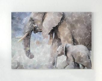 Elephant painting, elephant art, watercolor elephant, elephant nursery art, elephant wall decor, painting of elephant, baby elephants