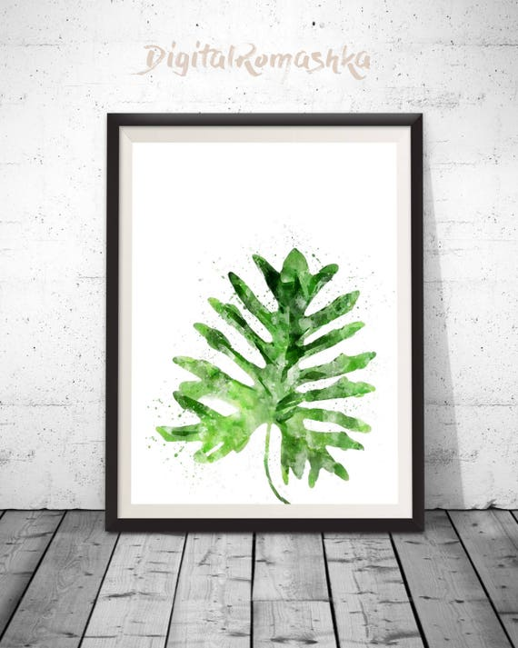 tropical leaf print leaf wall art tropical decor watercolor etsy