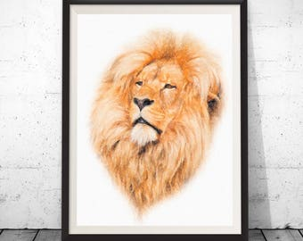 Watercolor lion, lion art print, african art, lion poster, lion home decor, lion face, painting of lion, male lion, watercolor art lions art