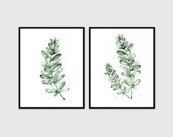 Eucalyptus Print set 2 Botanical Waretcolor Art, Green Leaves Decor, Botanical Poster, Watercolor Art Print, Leaves Wall Art, Tropical Print