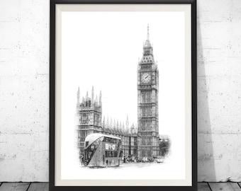 London Skyline, Pen and Marker Art, Architect Gift, Architecte Drawing, City Landscape, Pen Marker Drawing, Abstract Art, Wall Decor