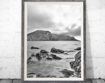 Mountains Print, Black And White Stones Print,  Beach photograph, Black and white photo, Black and white decal , beach photo, home art decor